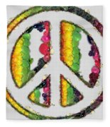 Peace Sign Fruits And Vegetables Fleece Blanket