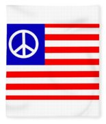 Peace Usa Flag Fleece Blanket