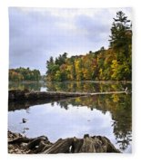 Peaceful Autumn Lake Fleece Blanket