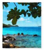 Peaceful Beach St. Thomas Fleece Blanket