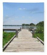 Peaceful Fishing Dock Fleece Blanket