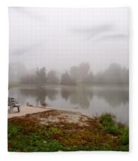 Peaceful Foggy Morning Marr Park Fleece Blanket