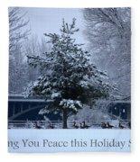 Peaceful Holiday Card - Winter Landscape Fleece Blanket