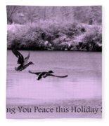 Peaceful Holidays Card - Winter Ducks Fleece Blanket