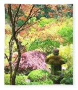 Peaceful Japanese Garden Fleece Blanket