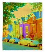 Peaceful Painted Pastel Rowhouses Printemps Plateau Montreal Scene Du Rue Carole Spandau Fleece Blanket