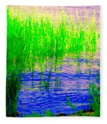 Peaceful Stream  Quebec Landscape Art Tall Grasses At The Lakeshore Waterscene Carole Spandau Fleece Blanket