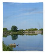 Peaceful Water Reflection At Tommy Thompson Park Fleece Blanket