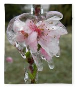 Peach Blossom In Ice Fleece Blanket