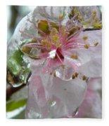 Peach Blossom In Ice Two Fleece Blanket