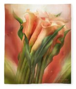 Peach Callas Fleece Blanket