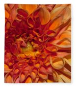 Peach Dahlia Fleece Blanket