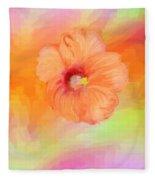 Peach Hibiscus Fleece Blanket