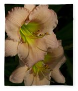 Peach Parfait Daylilies Fleece Blanket