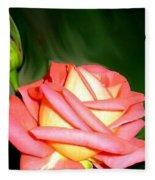 Peach Rose Watercolor Fleece Blanket