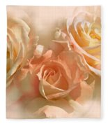 Peach Roses In The Mist Fleece Blanket