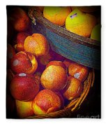 Peaches And Citrus With Blue Wooden Basket Fleece Blanket