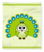 Peacock  - Birds - Art For Kids Fleece Blanket
