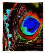 Peacock Feather Abstract Fleece Blanket