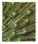 Peacock Feather Abstract Pattern Fleece Blanket