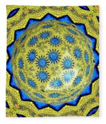 Peacock Feathers Under Polyhedron Glass 3 Fleece Blanket