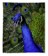 Peacock Head And Tail Fleece Blanket
