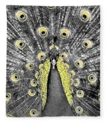 Peacock In Black And White With Selective Color Fleece Blanket