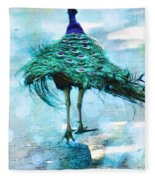 Peacock Walking Away Fleece Blanket