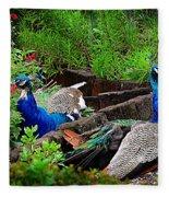 Peacocks In The Garden Fleece Blanket