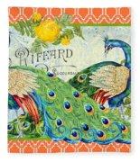 Peacocks In The Rose Garden Fleece Blanket