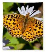Pearl Border Fritillary Butterfly On An Aster Bloom Fleece Blanket