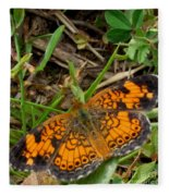 Pearl Crescent Butterfly Fleece Blanket