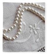 Pearls And Old Linen Fleece Blanket