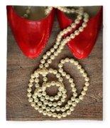 Pearls In Red Shoes Fleece Blanket