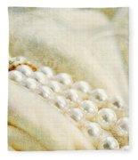 Pearls On White Velvet Fleece Blanket
