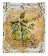 Pears And Dragonfly On Vintage Tin Fleece Blanket