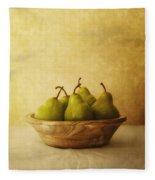 Pears In A Wooden Bowl Fleece Blanket
