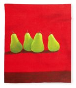Pears On Red Cloth Fleece Blanket