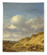 Peasants Driving Cattle And Sheep Fleece Blanket