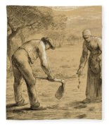 Peasants Planting Potatoes  Fleece Blanket