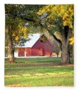 Pecan Orchard Barn Fleece Blanket