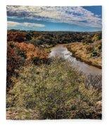 Pedernales River In Autumn Fleece Blanket