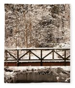 Pedestrian Bridge In The Snow Fleece Blanket
