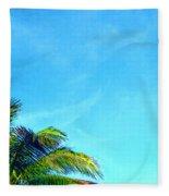 Peekaboo Palm - Tropical Art By Sharon Cummings Fleece Blanket