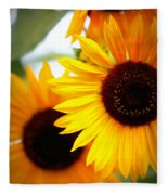 Peekaboo Sunflowers Fleece Blanket