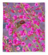 Peeking Through The Pink Penstemons Fleece Blanket