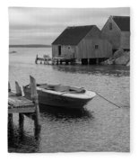 Peggys Cove In Black And White Fleece Blanket