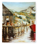 Peggy's Cove Nova Scotia Fishing Village With Red Boat Fleece Blanket