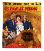 Pekingese Art - 55 Days In Peking Movie Poster Fleece Blanket