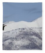 Pelican And Mountains Fleece Blanket